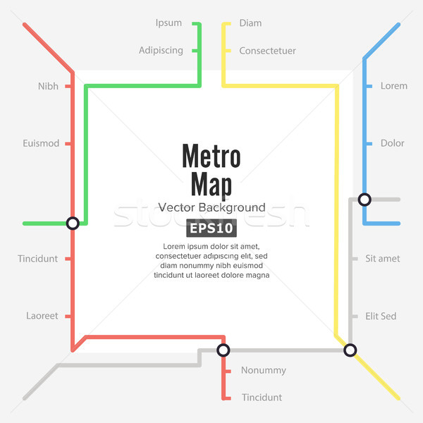 Metro Map Vector. Rapid Transit Illustration. Colorful Background With Stations Stock photo © pikepicture