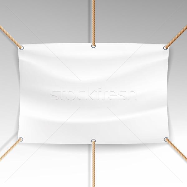 Branco bandeira cordas vetor realista têxtil Foto stock © pikepicture