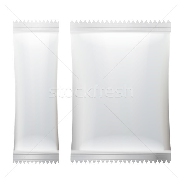 Sachet Vector. White Empty Clean Blank Of Stick Sachet Packaging. Realistic Isolated Illustration Stock photo © pikepicture