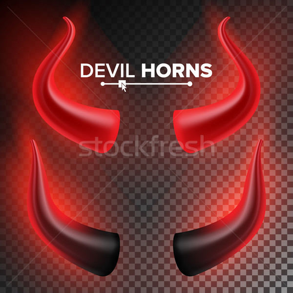 Devils Horns Vector. Red Luminous Horn. Isolated On White Background Illustration. Halloween Evil Ho Stock photo © pikepicture