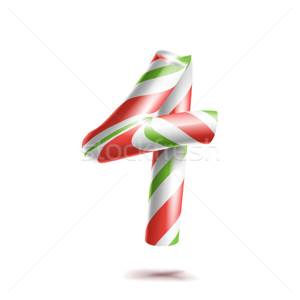 4, Number Four Vector. 3D Number Sign. Figure 4 In Christmas Colours. Red, White, Green Striped. Cla Stock photo © pikepicture