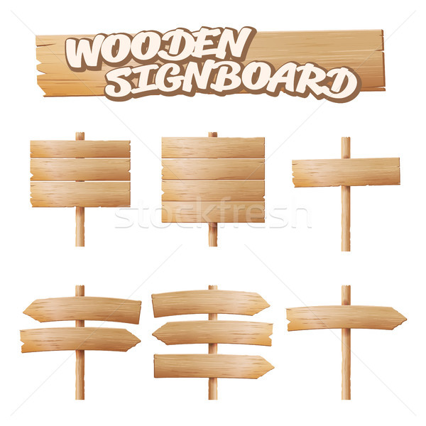 Wooden Signboards Set Vector. Empty Cartoon Banner. Arrow, Plank With Cracks. Wood Material Elements Stock photo © pikepicture