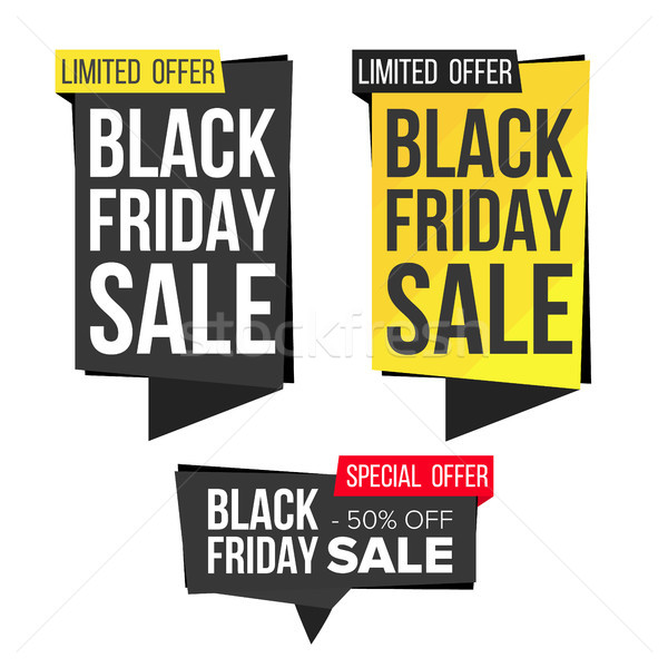 Black Friday Sale Banner Set Vector. Discount Banners. Friday Sale Banner Tag. Black Price Tag Label Stock photo © pikepicture