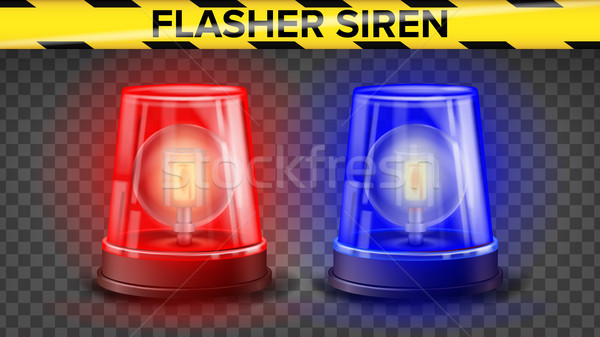 Red And Blue Flasher Siren Vector. 3D Realistic Object. Light Effect. Rotation Beacon. Police Cars A Stock photo © pikepicture