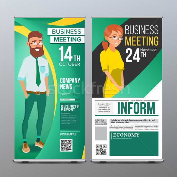 Roll Up Stand Vector. Vertical Flag Blank Design. Businessman And Business Woman. For Business Confe Stock photo © pikepicture