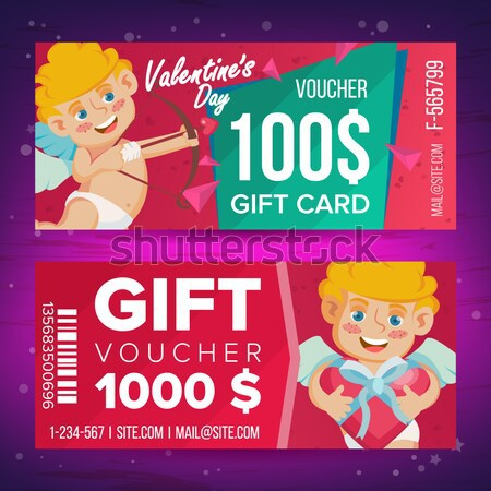Gift Voucher Vector. Horizontal Coupon. Merry Christmas. Happy New Year. Santa Claus And Gifts. Shop Stock photo © pikepicture