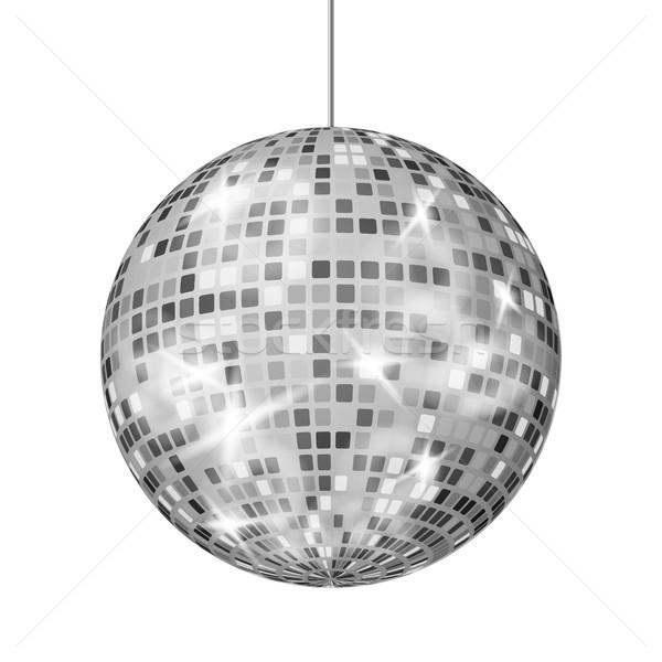 Silver Disco Ball Vector. Dance Night Club Retro Party Classic Light Element. Silver Mirror Ball. Di Stock photo © pikepicture