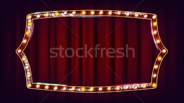 Retro billboard vector licht teken Stockfoto © pikepicture