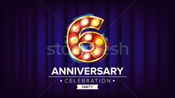6 Years Anniversary Banner Vector. Sixth, Sixth Celebration. Lamp Background Digits. For Invitation  Stock photo © pikepicture