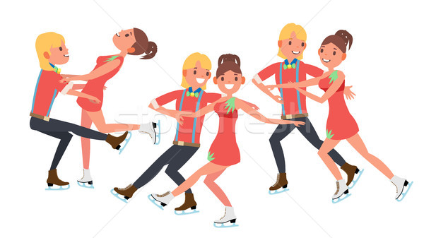 Couple With Ice Skaters Vector. Training Ice Show. Boy And Girl In Pair. Cartoon Character Illustrat Stock photo © pikepicture