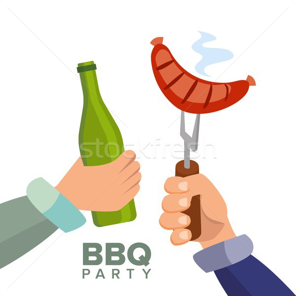 Barbecue Party Concept Vector. Cooked Hot Sausage. Hand Holding A Bottle Of Beer. Invitation Card. B Stock photo © pikepicture