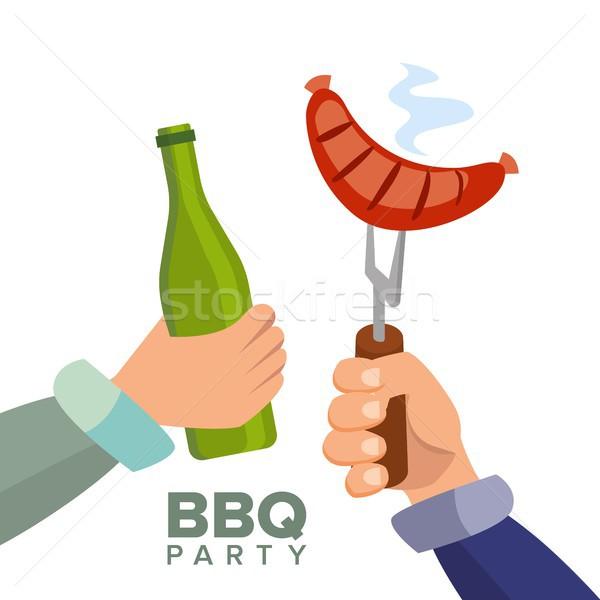 Barbecue buli vektor főtt forró kolbász Stock fotó © pikepicture
