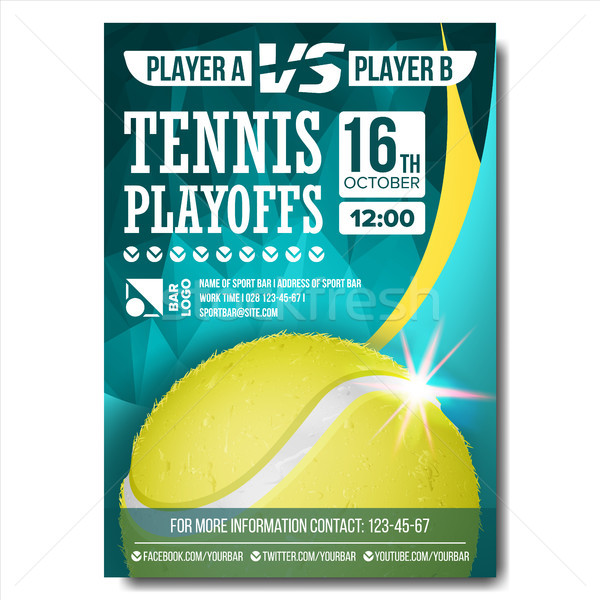Tennis Poster Vector. Design For Sport Bar Promotion. Tennis Ball. A4 Size. Modern Championship Tour Stock photo © pikepicture