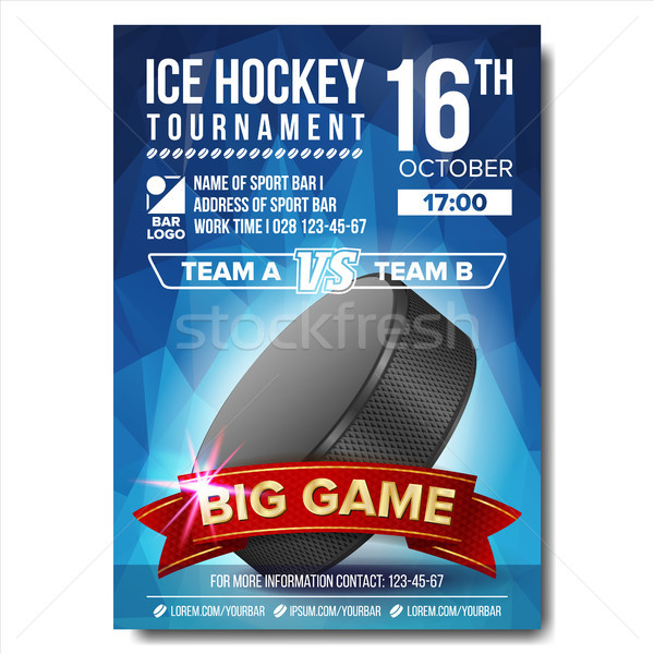 Ice Hockey Poster Vector. Ice Hockey Puck. Vertical Design For Sport Bar Promotion. Ice Hockey Flyer Stock photo © pikepicture