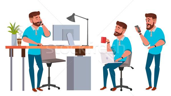 üzletember karakter vektor dolgozik férfi szakállas Stock fotó © pikepicture