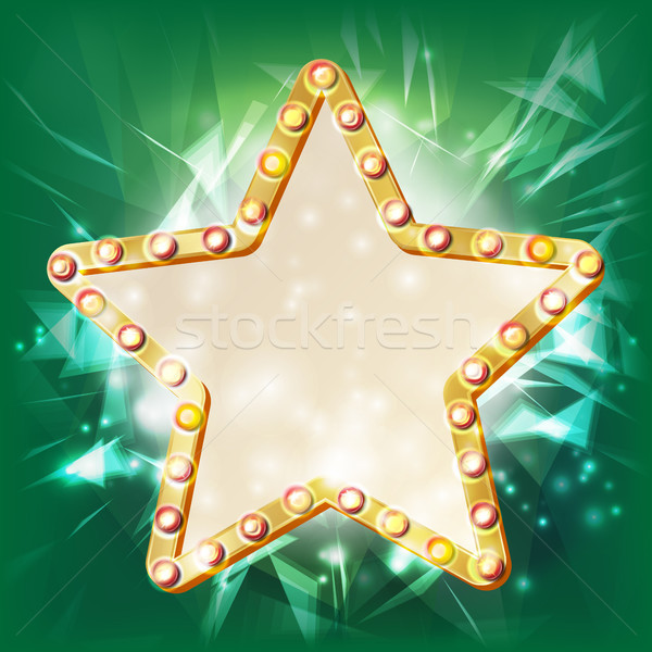 Golden Star Frame Vector. Glowing Element. Star With Light Bulbs. Placard, Billboard Blank. Cinema I Stock photo © pikepicture