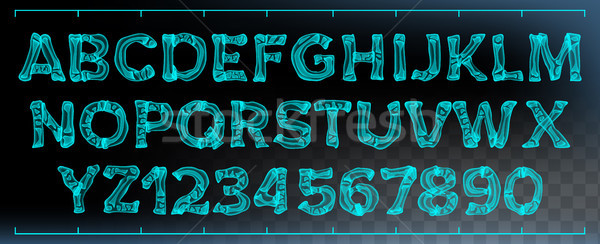 X-ray Font Vector. Transparent Roentgen Decorative Alphabet. Radiology Neon Scan Effect. Blue Bone.  Stock photo © pikepicture