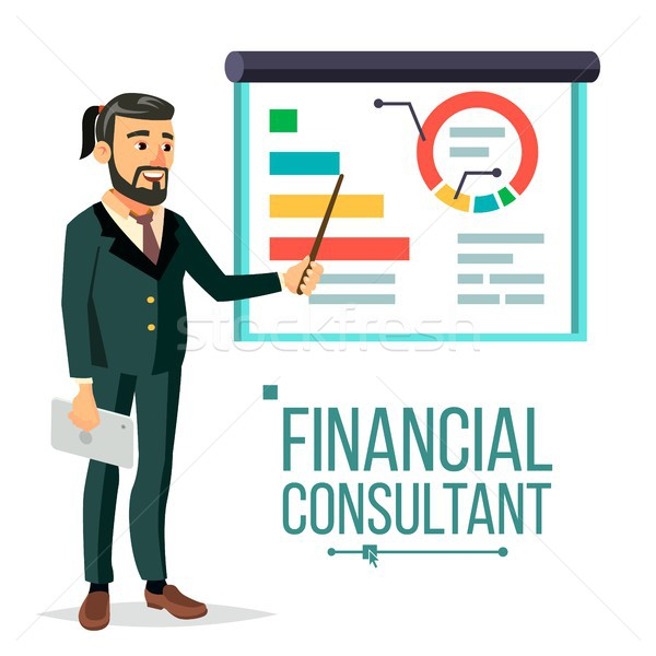 Financial Consultant Vector. Businessman With Blackboard. Professional Support. Research Graphs Mark Stock photo © pikepicture