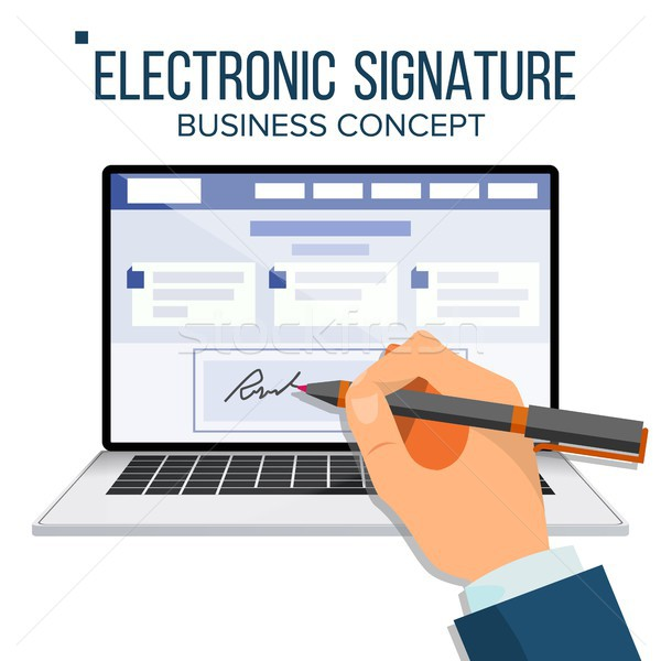 Electronic Signature Laptop Vector. Financial Business Agreement. Web Contract. Online Document. Iso Stock photo © pikepicture