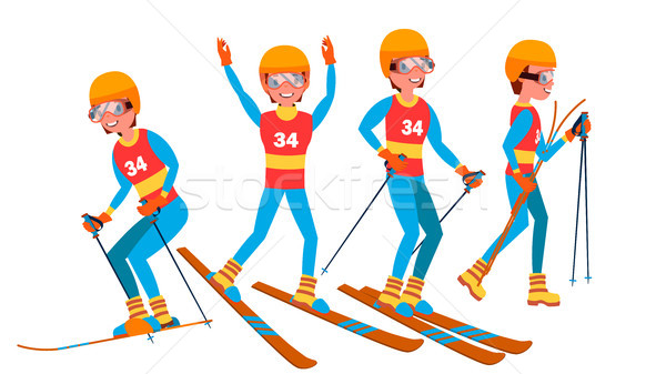 Skiing Male Player Vector. Slope Competition. Recreation Lifestyle. In Action. Cartoon Character Ill Stock photo © pikepicture