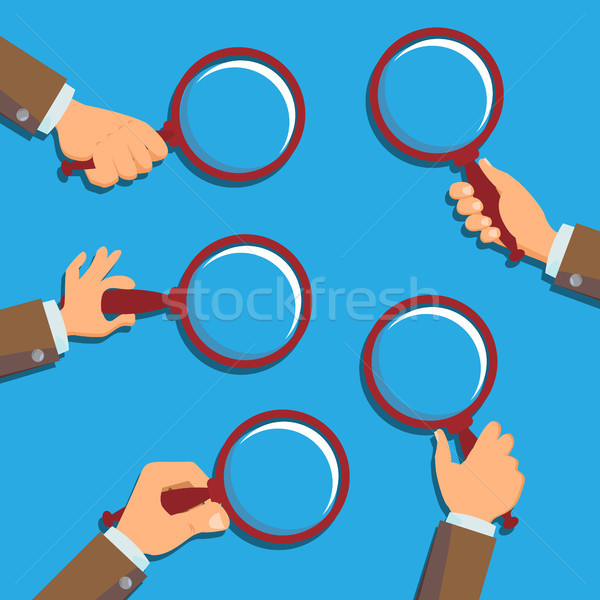 Hand Holding Magnifying Glass Vector. Information Research. Detecting Business Concept. Flat Illustr Stock photo © pikepicture