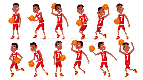 Basketball Player Child Set Vector. In Action. Leads, Playing With A Ball. Healthy Lifestyle. Runnin Stock photo © pikepicture