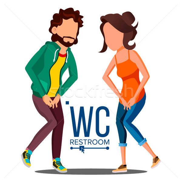 Public WC Sign Vector. Door Plate Design Element. Man, Woman. Bathroom Symbols. Isolated Cartoon Ill Stock photo © pikepicture