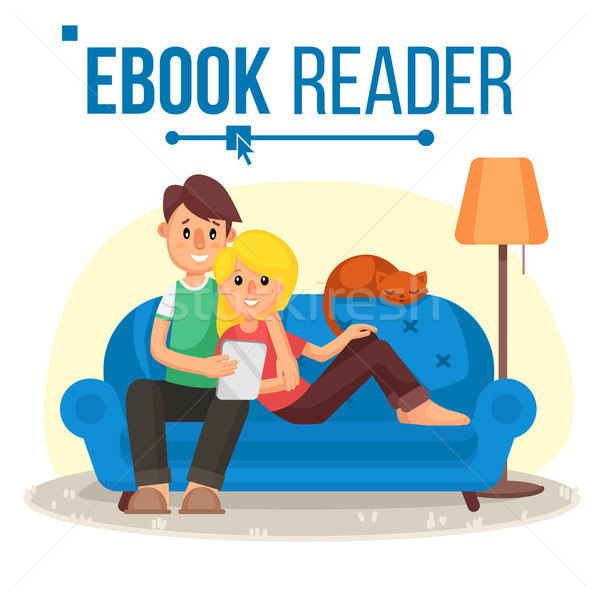 E-Book Reader Vector. E-Learning. Couple At Home. Online Library. Using Ebook. Alternative Device. R Stock photo © pikepicture