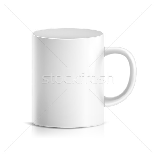 White Mug Vector. 3D Realistic Ceramic Or Plastic Cup Isolated On White Background. Classic Cafe Cup Stock photo © pikepicture
