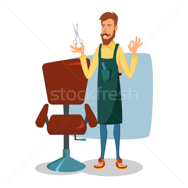 Stock photo: Barber Character Vector. Modern Barber Shop. Classic Lounge Chair. Cartoon Isolated Illustration.
