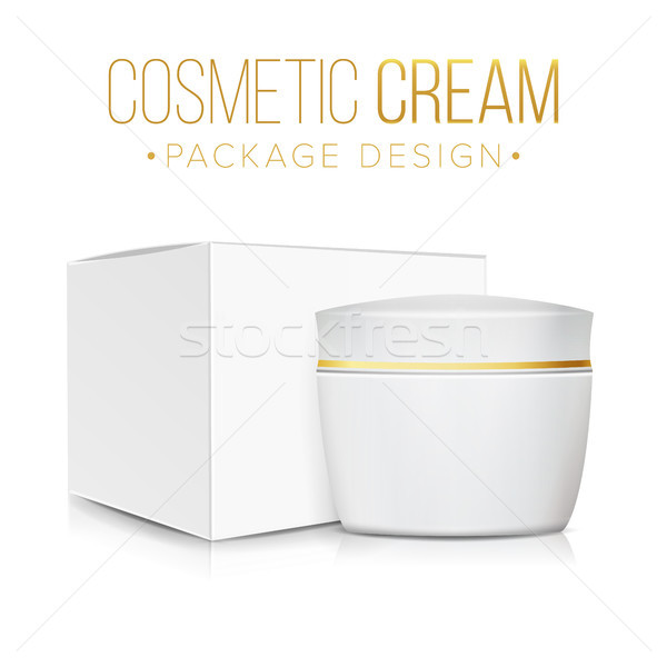 Cream Jar With Package Box Vector. Clean Cardboard Box. Skin Care Product Package 3D Illustration. Stock photo © pikepicture