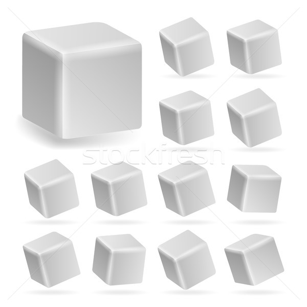 White Cube 3d Set Vector. Perspective Models Of A Cube Isolated On White Stock photo © pikepicture