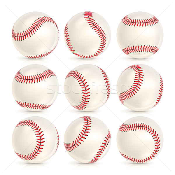 Baseball Leather Ball Close-up Set Isolated Stock photo © pikepicture
