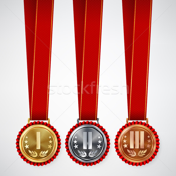 Gold, Silver, Bronze Place Badge, Medal Set Vector. Realistic Achievement With First, Second, Third  Stock photo © pikepicture