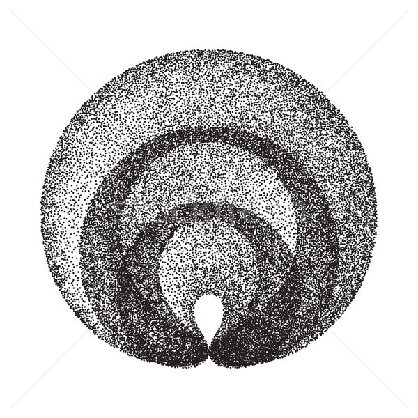 Abstract Geometric Shape Vector. Black Dotted Round Circle. Film Grain, Noise, Grunge Texture. Halft Stock photo © pikepicture