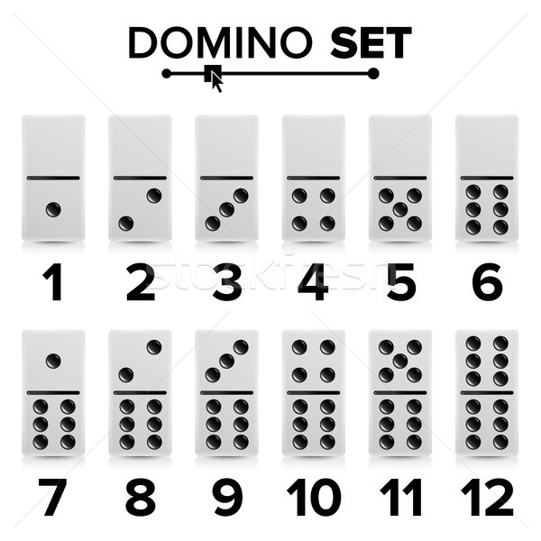Domino Set Vector Realistic Illustration. White Color. Dominoes Bones Isolated On White. Modern Coll Stock photo © pikepicture