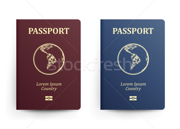 Passport With Map. South America. Realistic Vector Illustration. Red And Blue Passports With Globe.  Stock photo © pikepicture