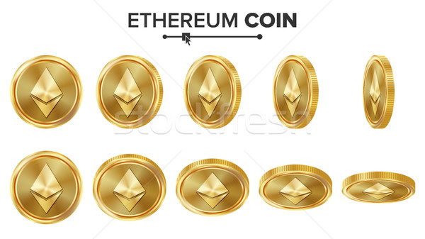 Ethereum Coin 3D Gold Coins Vector Set. Realistic. Flip Different Angles. Digital Currency Money. In Stock photo © pikepicture