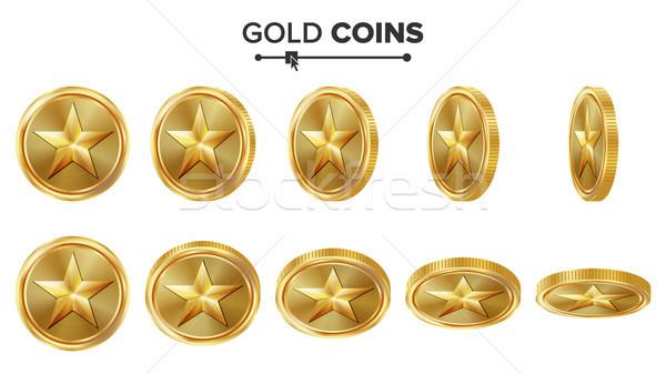 Сток-фото: игры · 3D · золотая · монета · вектора · звездой · различный