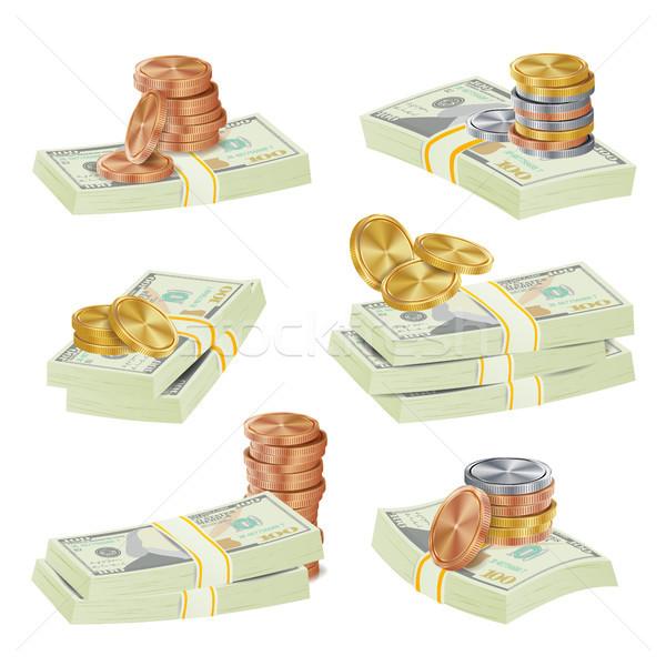 доллара вектора Золотые монеты деньги наличных Сток-фото © pikepicture