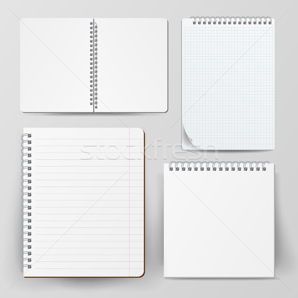 Notebook Set With Coil Spiral. Vector Spiral Notepad. Clean Mock Up For Your Design. Vector illustra Stock photo © pikepicture
