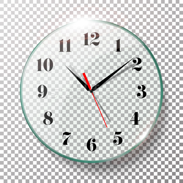 Realistic Wall Clocks Set Vector Illustration. Wall Office Clock With Black And Red Hands Isolated O Stock photo © pikepicture