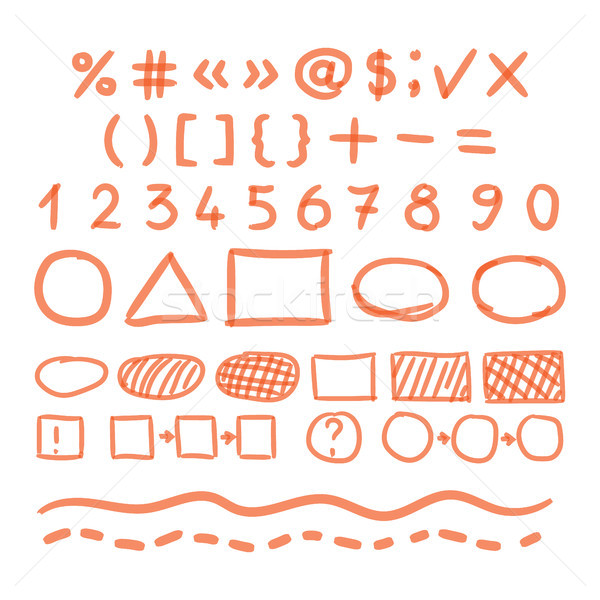 Marker Hand Written Doodle Numbers And Symbols Vector Stock photo © pikepicture