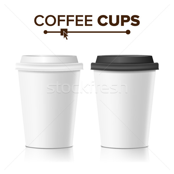 3d Coffee Paper Cup Vector. Collection 3d Coffee Cup Mockup. Isolated Illustration Stock photo © pikepicture