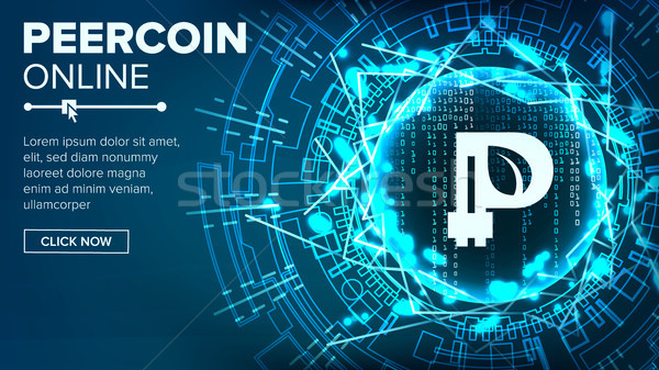 Peercoin Abstract Technology Background Vector. Binary Code. Fintech Blockchain. Cryptography. Crypt Stock photo © pikepicture