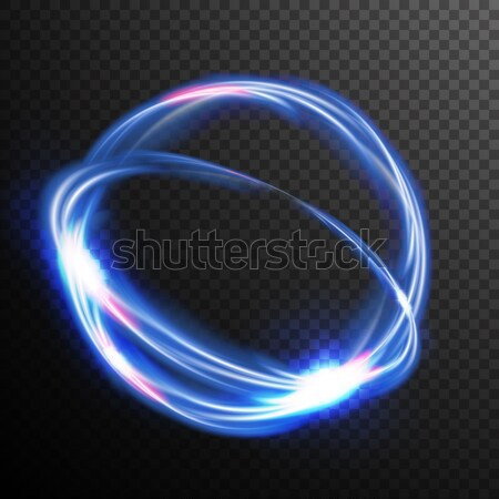 Blue Circles Glow Light Effect Vector. Round Wave. Magic Neon Flash Energy Light Ray. Good For Banne Stock photo © pikepicture