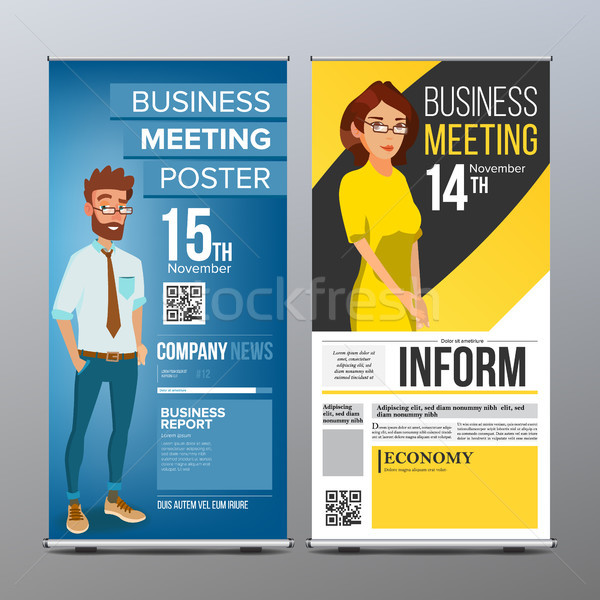 Roll Up Banner Vector. Vertical Billboard Template. Businessman And Business Woman. Tech, Science. F Stock photo © pikepicture