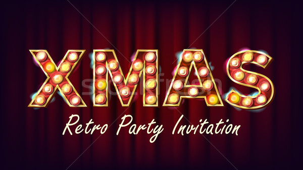Stock photo: Christmas Sale Sign Vector. Font Marquee Light. Christmas Poster, Flyer, Banner, Brochure Template.