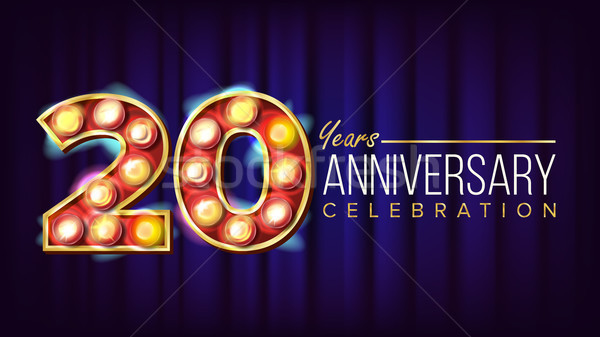 20 Years Anniversary Banner Vector. Twenty, Twentieth Celebration. Lamp Background Digits. For Flyer Stock photo © pikepicture