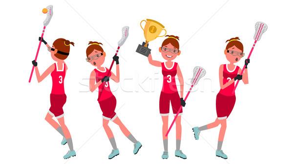 Women s lacrosse Vector. Lacrosse Practice. Teammates. Aggressive Women s player. Professional Athle Stock photo © pikepicture